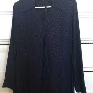 Long sleeves, navy dress shirt